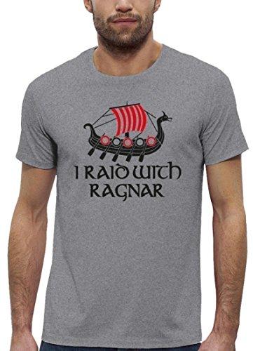 Serien Premium Herren T-Shirt aus Bio Baumwolle mit I RAID WITH RAGNAR Marke Stanley Stella Heather Grey
