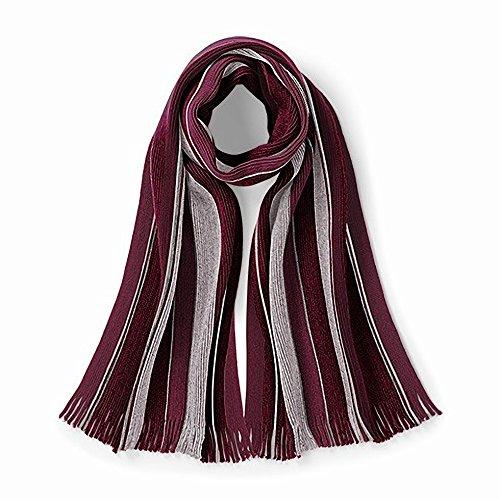 Beechfield - Echarpe rayée tricotée - Adulte unisexe Bordeaux/Gris