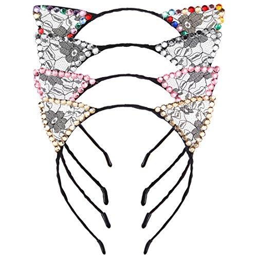 Strass Haarreifen Stirnband Fancy Dress Kopfstück für Halloween Weihnachtsfeiern und Kostüm (4 Stück Strass) (Erwachsene Kitty Katze Kostüm)