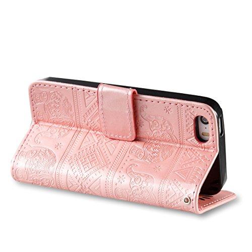 Coque iPhone SE, Housse iPhone 5S, Coque iPhone 5, Lifetrut [Relief Printing] Premium PU Leather Portefeuille Flip Folio Case Cover pour iPhone SE 5s 5 [Se leva] E205-Or Se leva