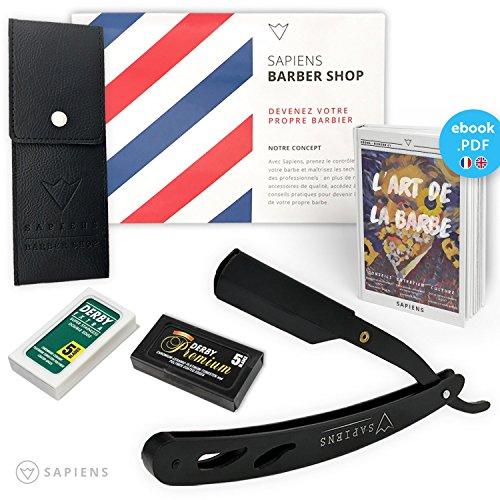 Rasoir à Barbe Shavette par Sapiens - Coupe Choux de Barbier avec 10 Lames Doubles Derby (20 Lames Simples) et Ebook Offerts