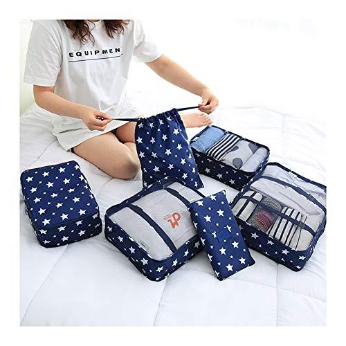 DGYAXIN Gute Qualität Packwürfel- 6-teilig, Set mit Kompression Packing Cubes Koffer Organizer Set, wasserdichte Ultraleicht Dauerhaft, für Kleidung Kosmetik Schuhbeutel,BlueStars