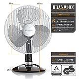 Brandson - Tischventilator 35cm / Windmaschine | Tisch Ventilator mit 3-Leistungsstufen | Leistungsaufnahme 40W | angenehmes Betriebsgeräusch | Neigungswinkel ca. 30° | Oszillation ca. 85° | silber
