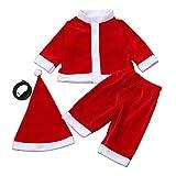 YanHoo Conjunto de Ropa para niños Chicos Navidad Traje de Manga Larga Camiseta Pantalones Sombrero Cinturón de Cuatro Piezas Disfraz Camiseta + Pantalones + Sombrero