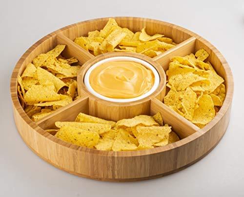 Strova 38,1 cm Holzspäne und Dip-Servierplatte mit Keramikschale (5 Abschnitte), rund, natürliches Vorspeisen, Taco, Gemüse, Obst, Snacks und Käse-Serviertablett, Party, Urlaub und Veranstaltung.