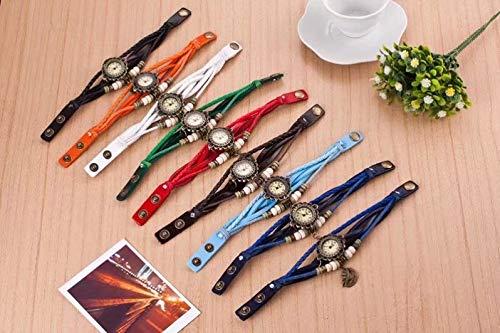 Demarkt Retro Vintage Klee Design Damen Armbanduhr Armreif Uhr Anhänger Spangenuhr Quarzuhren (Grün) - 5