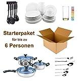 Haushalt Starterset bis 6 Personen - Wohneinrichtung Starterpaket - Einrichtungspaket - (Küche, Besteck, Geschirr)