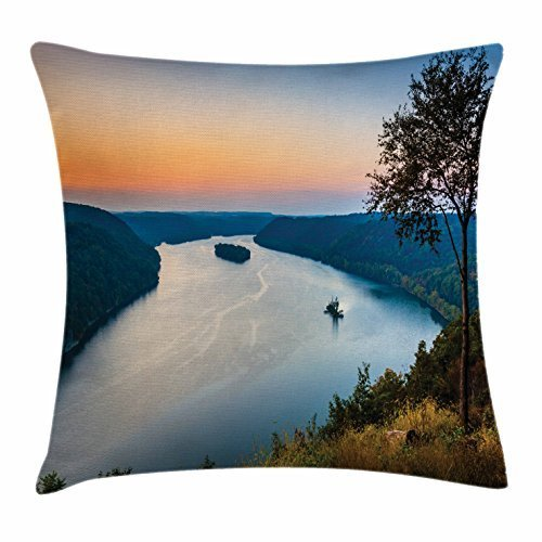 pigyear888 River Throw Pillow Cushion Cover, Bend of Susquehanna River View Over Sunset Appalachian Landscape with Trees in Fall, Decorative Square Accent Pillow Case, 18 X 18 Inches, Blue Peach