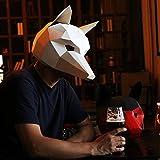 Maxleaf 3D Papier Maske Tierkopf Formen DIY Halloween Party Kostüm Cosplay Gesichts Papier-Handwerk Kit Fox Design (white)