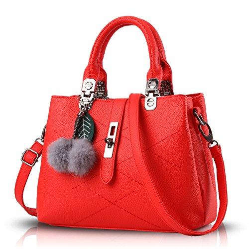 Tisdain Borsa selvaggia della sfera dei capelli della borsa del messaggero del messaggero del sacchetto di spalla del sacchetto di spalla della borsa delle nuove borse 2017 di modo rosso