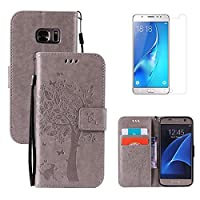 for Samsung Galaxy S7 Kickstand Case and Screen Protector ,OYIME [Gray Cute Cat and Butterfly Tree] Design Leather Wallet Magnetic Holster with Card Holder Full Body Protective Flip Cover