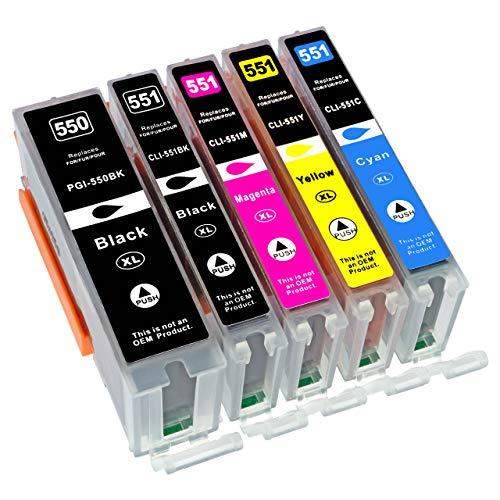 ESMOnline 5 komp. XL Druckerpatronen zu Canon Pixma MG5450 MG5550 MG5650 MG5655 MG6350 MG6450 MG6650 MG7100 MG7150 MG7550 MX725 MX925 iP7200 iP7250 iP8750 iX6850