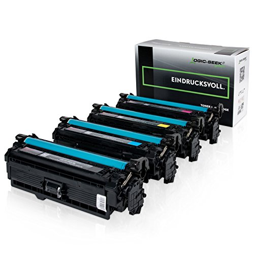 4 Original Logic-Seek Green Toner Kompatibel zu HP CE250X-CE253A Color Laserjet CM3530 CP3525 Series (Ce252a Hp)