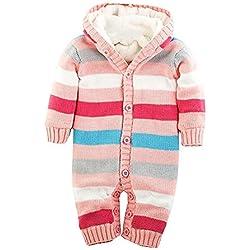 Minetom Bebé Niños Niñas Otoño Invierno De Punto Suéter Patrón De Rayas Rompers Con Sudadera Con Capucha Rosa 63-68