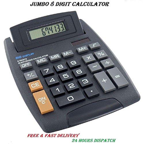 Neue Jumbo Desktop Taschenrechner 8Digit Große Knopf Schule Home Office Akku New (Große Raw-kristalle)