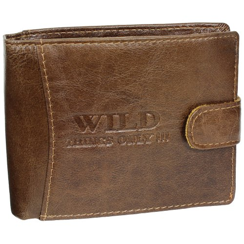 Riegel Geldbörse Portemonnaie Geldbeutel Herren Leder (Braun)