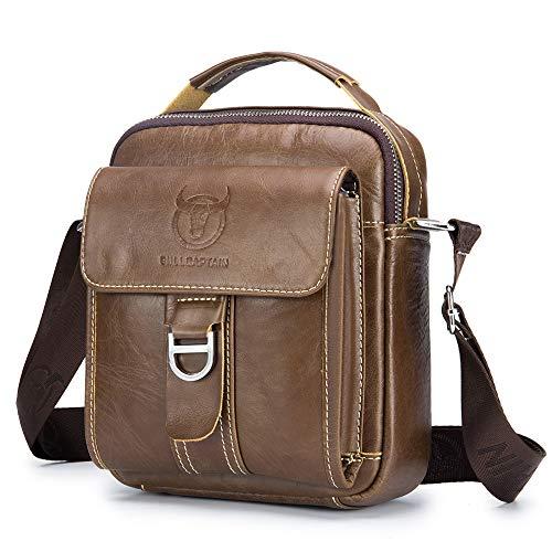 Sling Bag echtes Leder Männer Schultertasche Umhängetasche Handtasche Brusttasche Rucksack Cross Body Messenger Business Kaffee ()