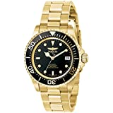 INVICTA Pro Diver Men's Automatic Watch with Black Dial Analogue Display and Gold Plated Stainless Steel Bracelet 8929OB