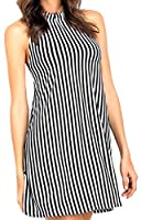 Tootlessly Women's Casual Striped Backless Sexy Mini Beach Dresses Black XS