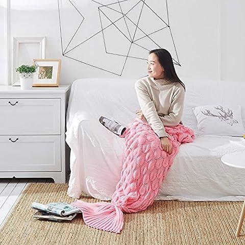 Super Plaid doux et confortable Eté–Masques de Throw Blanket coton Chiffon climatisation couverture queue de sirène Knit, rosa, 60*140CM