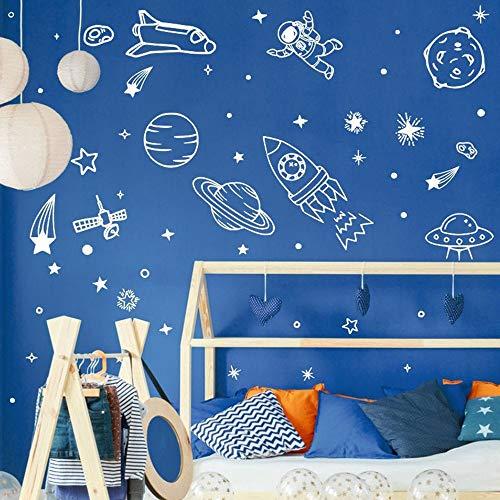 Modeganqingg Weltraum Wandtattoo Universum Aufkleber Planet Erde Rakete Astronaut Vinyl Wandaufkleber Weiß 57x120cm