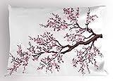 Japanische Kissen Sham, Ast von einer blühenden Sakura Baum Blumen Kirschblüten Frühling Art, dekorative Standard King Größe bedruckt, Kissenbezüge, 76,2x 50,8cm, Pink, dunkelbraun