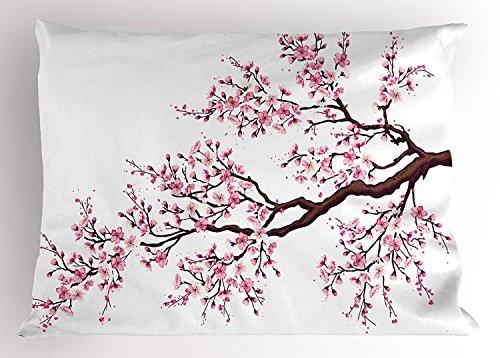 fringcoook Japanische Kissen Sham, AST von Einer blühenden Sakura Baum Blumen Kirschblüten Frühling Art, dekorative Standard King Größe Bedruckt, Kissenbezüge, 76,2x 50,8cm, Pink, Dunkelbraun