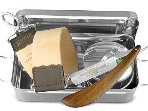 5-Teiliges Rasier-Set – Geschenk Set – Rasiermesser – Rasierschale + Streichriemen und Paste aus Solingen in edler Aufbewahrungs-Box