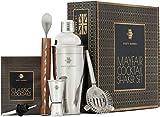 Rusty Barrel® - Coffret à Cocktail Mayfair - Grand Shaker en INOX Style «Manhattan», Pilon en Bois, passoire à Cocktail, Bec verseur, cuillère et livret de Recettes - Présenté dans Une boîte Cadeau