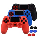 Asiv Silikon Skin Schutz-Hülle Anti-Rutsch für PS4-Controller x 3 (schwarz + rot + blau) + Joystick Kappen Daumen Griffe Anlagen x 6