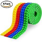 Cinta de bloque, 4 rollos (92 cm / rollo) Bucles Cinta de bloque de construcción Cintas de seguridad multicoloras no tóxicas de silicona con tiras autoadhesivas reutilizables Como placas de base de la
