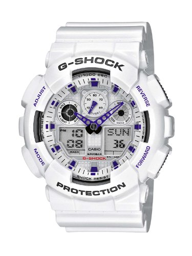 Casio G-Shock Analog-Digital Herrenarmbanduhr GA-100A weiß, 20 BAR