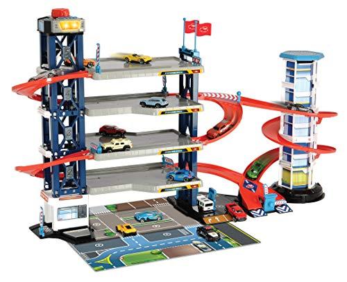 Dickie Toys 203749008 Parking Garage, Parkgarage, Spielset, Parkhaus, 4 Etagen, Aufzug, 4 Die-Cast-Fahrzeuge, 1 Helikopter, Licht & Sound, Mehrfarbig