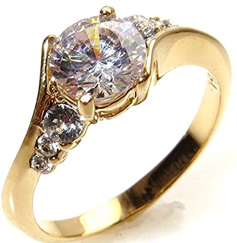 Ah! Jewellery Elegant Gold Filled Promise Simulated Diamond Engagement Ring. 6.5mm Centre Stone With 3 Perfectly Round Lab Diamonds Running Along Each Side. 2.5gr Total Weight And 7mm Total