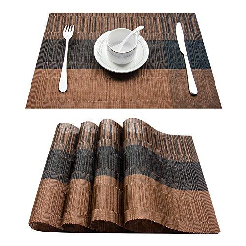 TOP Marques Collectibles Top Finel 4er Set Umweltfreundlich PVC Tischset - abwaschbar Platzset Platzmatten für Dekoration und Küche, 30 x 45 cm,Braun und Schwarz