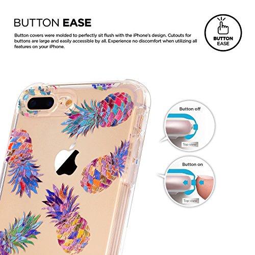 Coque iPhone 7 Plus, LUOLNH Absorption des chocs TPU Bumper Protection Goutte ,Résistant aux rayures pour Apple iPhone 7 Plus Silicone Étui Housse Protecteur -Pivoine Rose Multicolor ananas