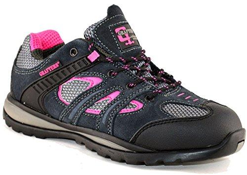 Damen Leder Wildleder Sicherheit Spitze bis Sportschuhe Arbeit Stiefel Schuhe Größe 3