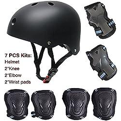 Juego de protecciones para ciclismo o patinaje, 7 piezas (rodilleras, coderas, muñequeras y casco para monopatín infantil, ABS, tamaño infantil), noir L