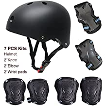 Juego de protecciones para ciclismo o patinaje, 7 piezas (rodilleras, coderas, muñequeras y casco para monopatín infantil, ABS, tamaño infantil), noir S