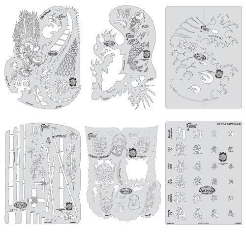 Unbekannt Artool Freehand Airbrush Vorlagen, Kanji Master