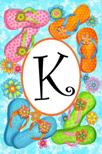 Bright Allegro fiori su infradito Monogram K Biadesivo giardino Bandiera