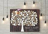 50x40 cm Leinwanddruck-Gästebuch Hochzeitsbaum Wedding Tree Rustikales Gästebuch Leinwanddruck Hochzeitsgästebuch Keilrahmen Holz Motiv