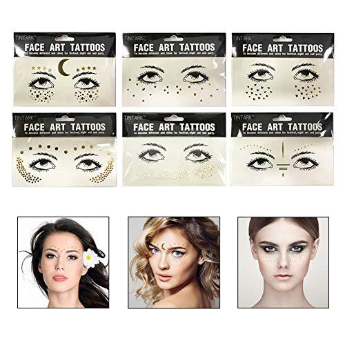 Gesicht Tattoo Aufkleber Gesicht Edelsteine für Glitzer Effekt Parties Shows Make up (6 Stück) ()