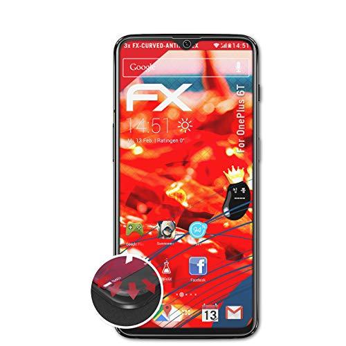 atFolix Schutzfolie passend für OnePlus 6T Folie, entspiegelnde & Flexible FX Bildschirmschutzfolie (3X)