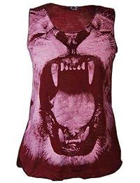 Mix lot de nouvelles dames femmes visage de lion gilet sans manches sexy tee top casual wear taille 36-42