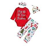 cinnamou Weihnachts Neugeborenes Baby Brief Strampler Tops + Hosen Kleidung Outfits Set Unisex