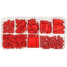 Electronics-Salon M3 Nylon Red Hex Macho-hembra Standoff Tornillo Juego de surtido de la tuerca, separador 6mm 8mm 10mm 12mm 15mm 20mm, Tuerca M3, Tornillo M3 x 6mm. Espaciador.