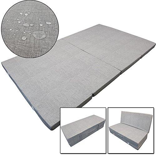 Premium Outdoor Klappmatratze Tino Duo 195 x 120 x 7 cm wasser- und schmutzabweisende Faltmatratze geeignet als klappbares Notbett, Gästematratze, Sitzhocker, Campingbett für 2 Personen, Farbe:Grau