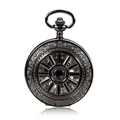 Xuanbao-Watch Weinlese-Quarz-Taschen-Uhr Mechanische taschenuhr Mode Pistole Farbe hochwertige mechanische Bewegung taschenuhr männer und Frauen aushöhlen Uhr Geschenk mit Kette -