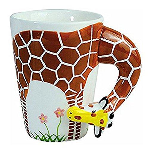 Geschenk Keramik Kaffee Milch Tee Becher 3D Tierform Hand bemalte Tiere Tasse - Giraffe ()